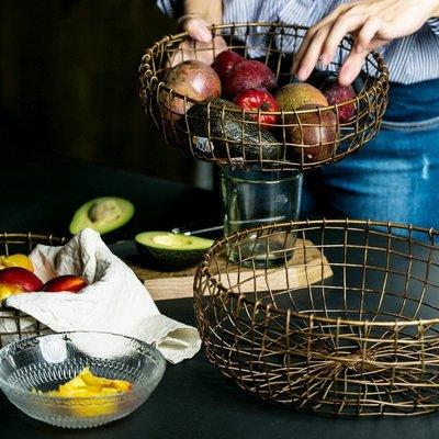 ☆☆☆復古鐵藝收納籃丨3型號丨北歐風水果筐烘焙麵包籃點心籃零食筐(小)-DDM