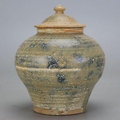 ㊣姥姥的寶藏㊣北宋越窯出土雕花紋將軍罐 古玩