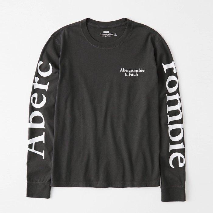 【Abercrombie&Fitch】【A&F】AF女款長袖T恤左印字雙臂印大字深灰 F02191212-58