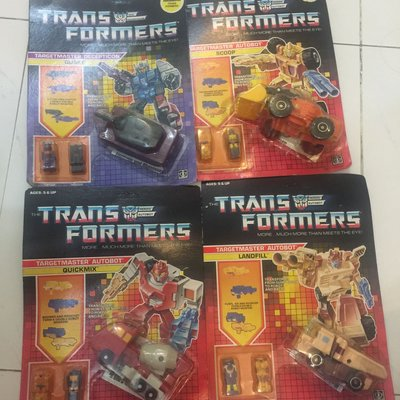 Trans formers targetmaster autobot Landfill ,Scoop,Quickmix,Quake.30年前變形金剛古董,古文物