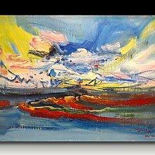【 金王記拍寶網 】U989  朱德群 款 抽象 手繪原作 厚麻布油畫一張 罕見 稀少 藝術無價~