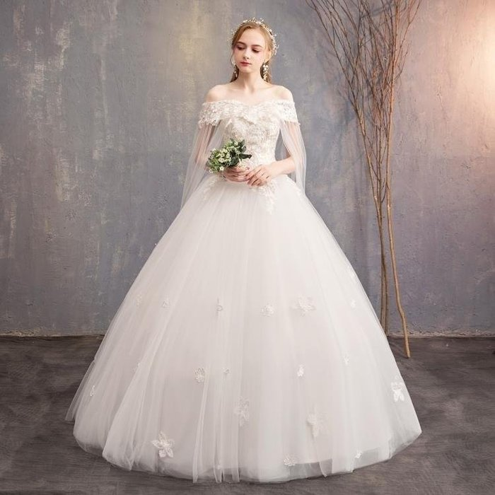 麥麥部落 婚紗禮服婚紗禮服拖尾公主夢幻一字肩大碼新娘出門紗影樓MB9D8