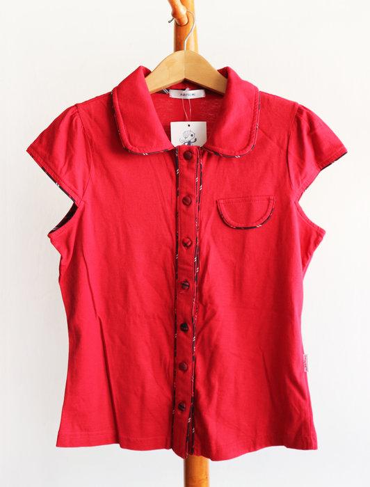 全新-瑪芝蜜-紅色格紋滾邊棉質襯衫--貨號:C箱C5-i本p28