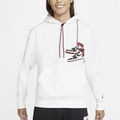 【eat.sneakers癡鞋男】NIKE JORDAN AJ1 OG 黑頭 刺繡 刷毛 帽T 白 CT3458-100