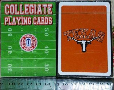 龍廬-出清撲克牌~美式橄欖球大學聯盟COLLEGIATE PLAYING CARDS TEXAS德州大學長角牛隊起標單附
