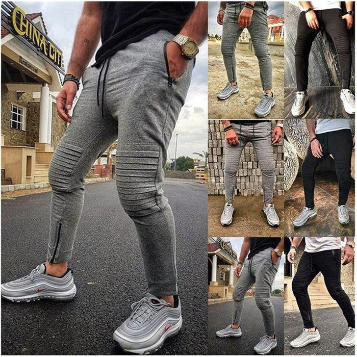 『潮范』  N4 外貿男士新款時尚多條紋小腳褲 系繩休閑運動褲 休閒長褲 鉛筆褲