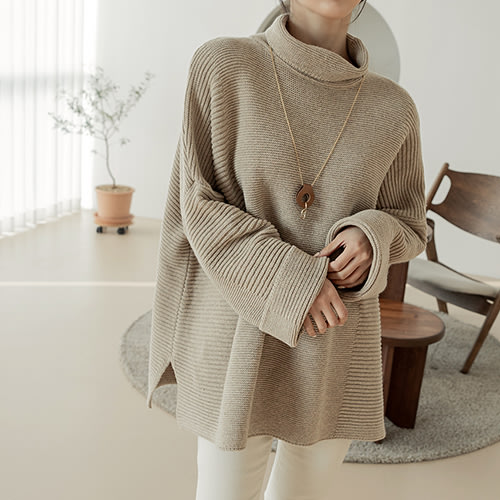 i-Mini 正韓|極簡線條高領寬鬆長版羊毛上衣|3色‧ 韓國連線‧代購‧空運【B01136510by】