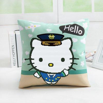 十字繡材料包KT貓-藍抱枕(含枕心400g)45*45cm