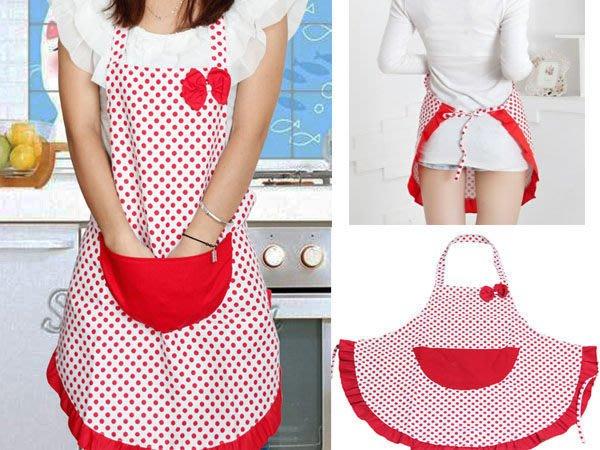 Q媽 (白底紅點)時尚圓點蝴蝶結可愛圍裙 卡通帆布圍裙 公主圍裙(白底紅點)