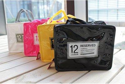 HAPPY+【V5023】韓國 亮麗糖果色 方形 保溫便當包 創意便當袋 4色 方形購物袋 印象英倫便當包 簡約大方