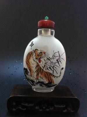 老虎圖2內畫鼻煙壺中國特色手工藝品中國風外事商務小禮品手繪送長輩 壺說76