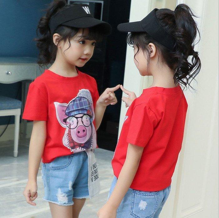 日韓歐美♥韓版中大女童 可愛小豬印花T恤 夏日短袖上衣【Q034】