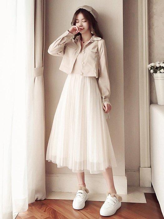 [C.M.平價精品館]新品特價S~XL一衣多穿飄逸網紗裙襬細肩帶洋裝+外套二件式套組