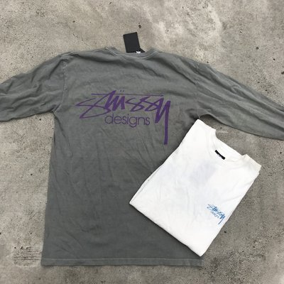 ☆LimeLight☆ STUSSY STUSSY DESIGNS PIGMENT DYED L/S TEE 灰 & 白