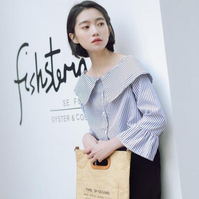 短袖襯衣 娃娃領條紋襯衫女2019新款寬鬆春夏小清新韓版設計感小眾襯衣上衣 探索