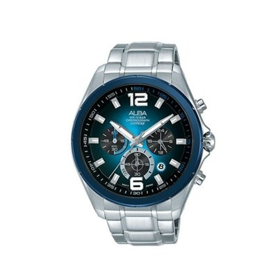 可議價「1958鐘錶城」ALBA雅柏 ACTIVE 男 廣告款三眼計時 石英腕錶(AT3B79X1) 44mm