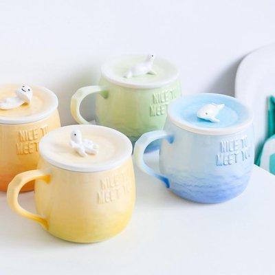 ☆☆☆骨瓷杯可愛帶蓋帶勺陶瓷杯大容量骨瓷馬克杯創意立體水杯辦公室咖啡杯-DDM