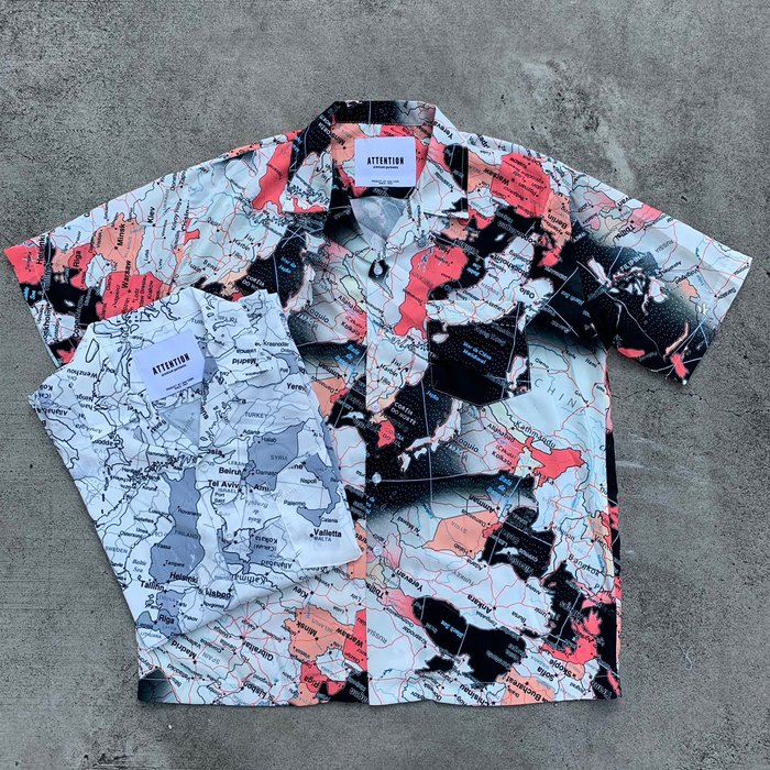 【inSAne】韓國購入 / 地圖 / 滿版 / 花襯衫 / 單一尺寸 / 白藍 & 黑紅