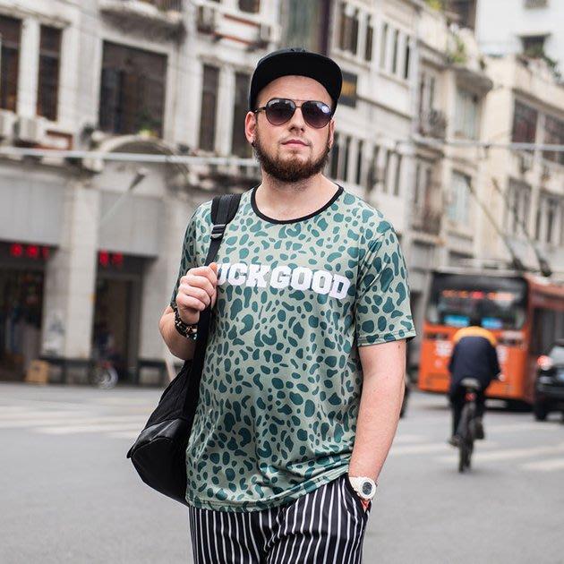 FINDSENSE品牌監製 大尺碼男裝 加大加肥3D大豹紋短袖T恤嘻哈薄款個性印花短袖夏季男大尺碼寬鬆透氣T恤速乾排汗T