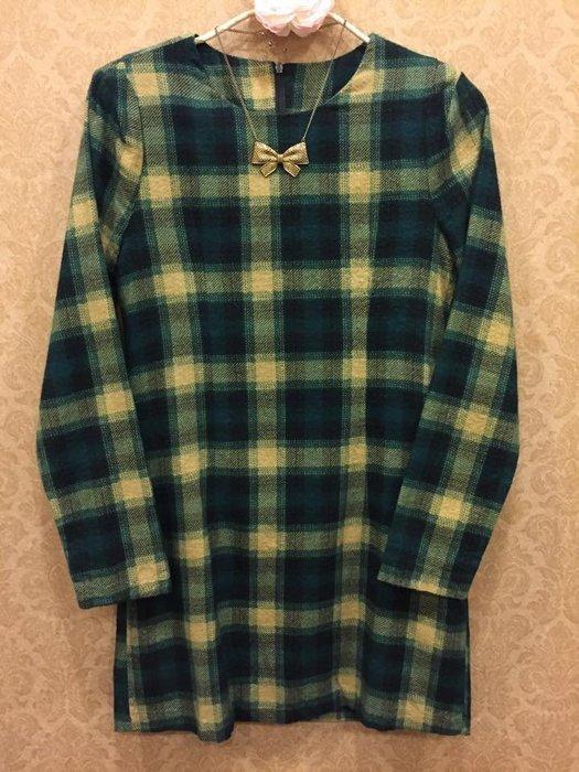 正韓寶石綠格紋造型肩線洋裝 韓國空運 毛料連身裙 OL必敗款 氣質美女
