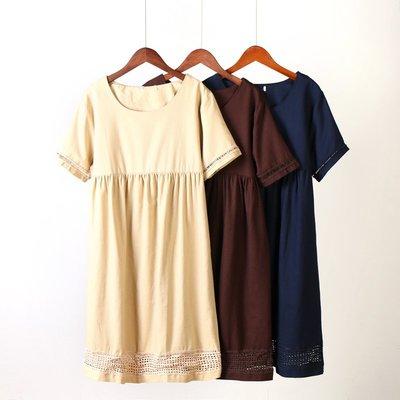 Freedom.~棉麻連身裙 女2019夏季新款短袖純色花邊拼接寬松大碼森系