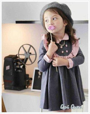 Q朵米-貴族學院風時尚荷葉花邊公主長袖女童連身裙 洋裝