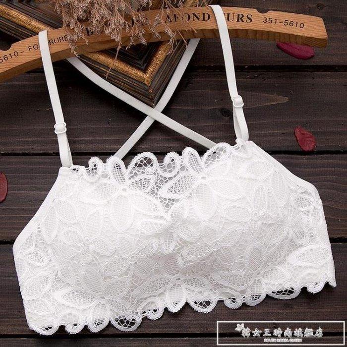 美背文胸聚攏小胸加厚無鋼圈胸罩夏季白色防走光裹胸式抹胸內衣女