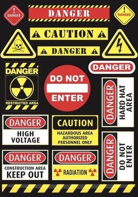《潮流本舖》標誌類 整版 危險禁止進入 防水貼紙 潮流貼紙 PVC