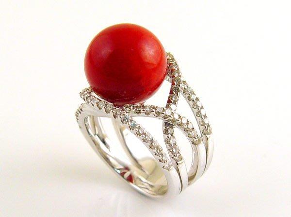 紅珊瑚 戒指 阿卡 圓珠 鑽戒 附保證書 【大千珠寶】