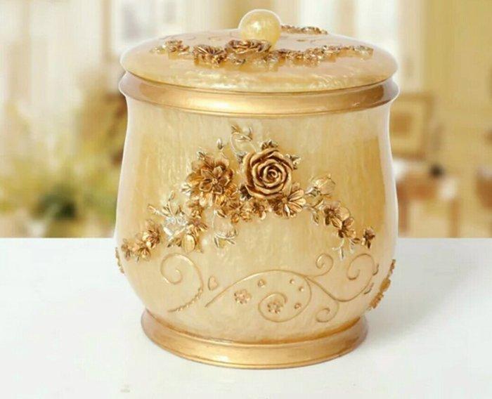 粉紅玫瑰精品屋~歐式古典貴族玫瑰桌面收納桶 垃圾桶~