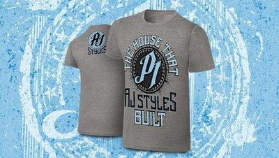 ☆阿Su倉庫☆WWE AJ Styles The House AJ Styles Built Tee AJ灰色特別版衣服