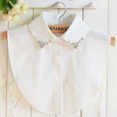 假領子襯衫領片-鑲鑽珍珠雪紡白色女裝配件73vk8[獨家進口][米蘭精品]