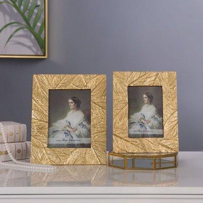 〖洋碼頭〗6寸7寸金色葉子相框創意藝術相架畫框歐式軟裝飾品擺件 shx390