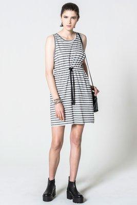 (預購商品) cheap monday collapse multi stripe 灰色 白色 條紋 綁帶 無袖 洋裝