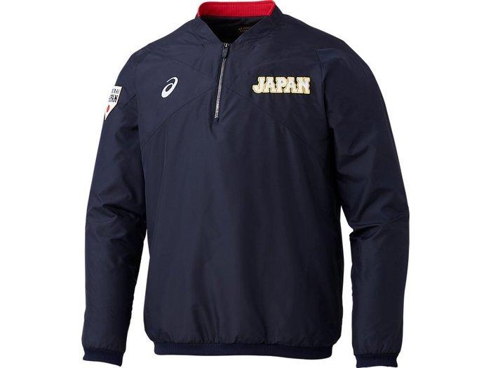 貳拾肆棒球-日本直送-侍JAPAN日本代表野球隊實使用球員版長袖風衣/Asics製作