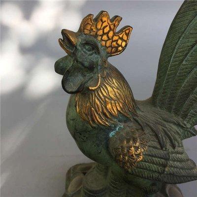 銅金雞報曉擺件 工藝精湛 形態逼真 生動形象 細節清晰 包漿自然