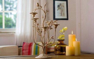❤伊頓家居❤ 歐式複古小鳥鐵藝燭台擺件 美式鄉村刷金婚慶工藝品擺設