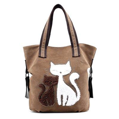 肩背包帆布手提包-可愛貓咪鏽花休閒女包包5色73wa18[獨家進口][米蘭精品]