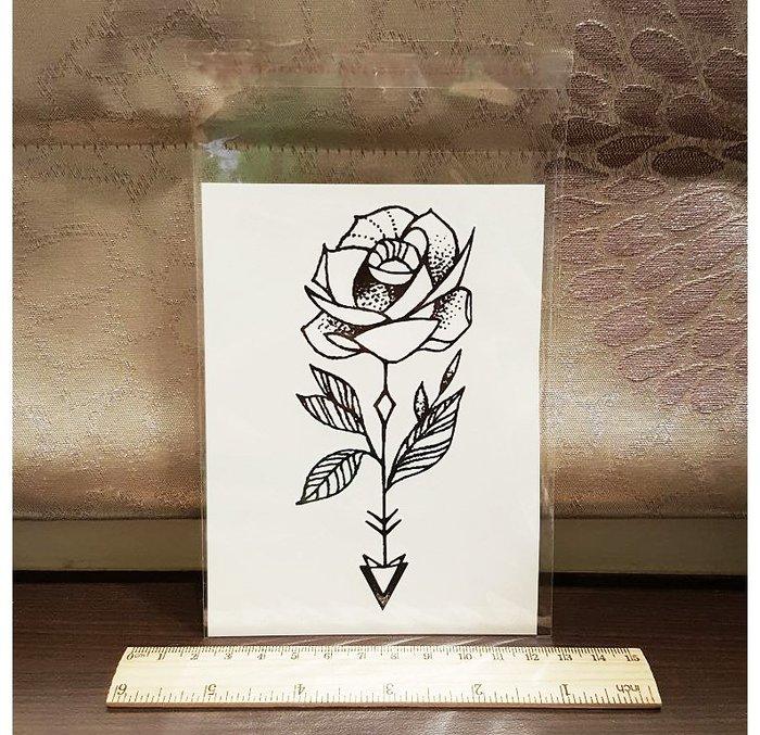 【萌古屋】箭頭玫瑰 - 男女防水紋身貼紙刺青貼紙K00