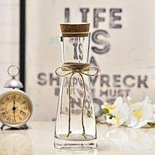 北歐創意束腰玻璃花瓶麻繩蝴蝶結透明水培容器客廳清新花插擺件
