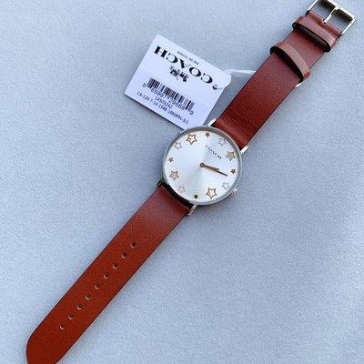 ㊣國際品牌COACH庫㊣ COACH 14503242 14503243【2件免運】新款五角星錶盤真皮簡約女錶 石英手錶