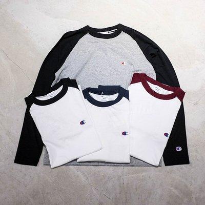 【車庫服飾】 CHAMPION 2019FA BASIC 長 TEE 小C款 撞色長袖上衣 薄長t