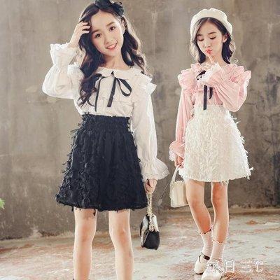 女童兩件套裙秋裝新款韓版時尚秋季童套裝大兒童裝潮衣 zm7989
