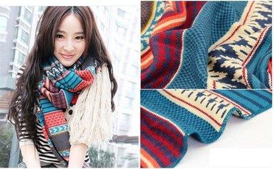 圍巾波西米亞韓國時尚復古潮流仿羊絨保暖針織秋冬款免運費 Display
