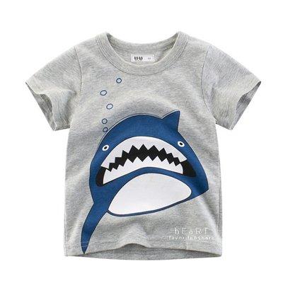 【可愛村】大嘴牙齒鯊魚短袖T恤上衣 上衣 童裝 短袖上衣 T恤