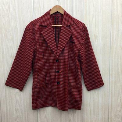 【愛莎&嵐】PLAYBOY 男 紅色格紋西裝外套 / XL 1080213