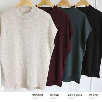 針織衫 韓國 寬鬆蝙蝠袖前短後長素雅針織上衣 艾爾莎 【TA620424】