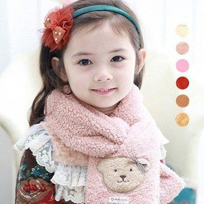 【可愛村】 復古小熊毛絨加厚圍巾 刷毛 兒童圍巾