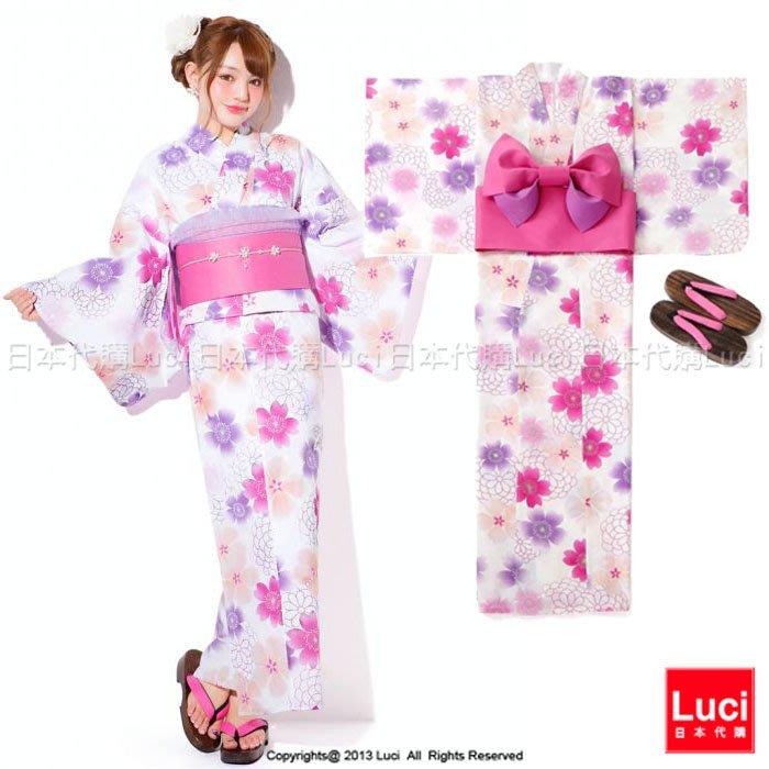 浴衣 夢幻八重櫻花 花朵浴衣和服三件組 吉木千沙都 日雜款  LUCI日本代購 [giu902kx]