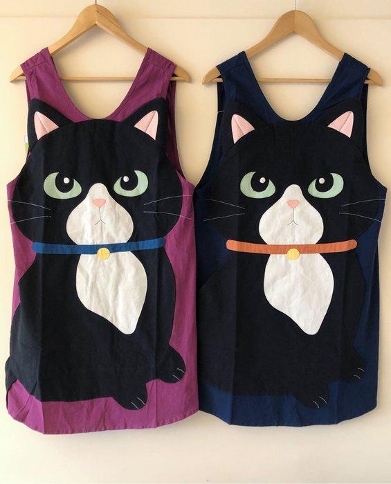日本卡拉貓~仙氣大黑喵拼布圍裙 工作服